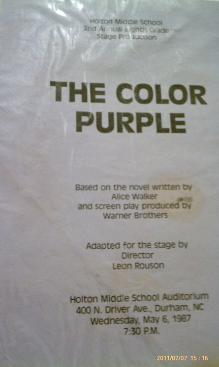 The Color Purple (May 6, 1987) Holton Middle School-Inner City Durham North Carolina