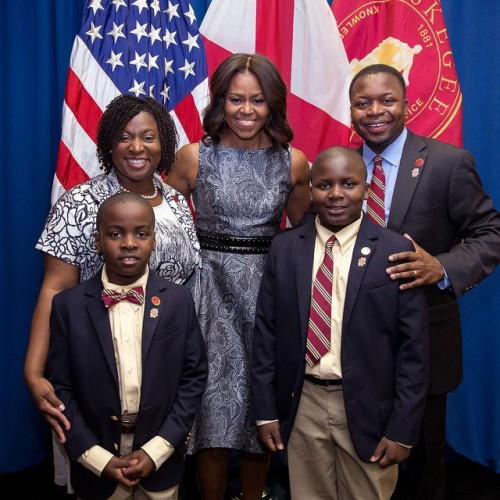 Tuskegee First Family with First Lady of the United States Mrs. Michelle Obama